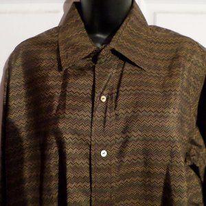 Jim Thompson Long Sleeve Button Front Silk Shirt L